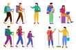Budget tourism flat vector illustrations set. Active trip to mountains, forest. Hiking and camping. Earning money during vacation. Cheap travelling ideas isolated cartoon characters