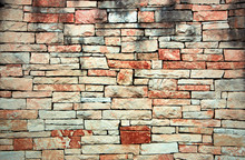 Antique Red Stone Wall Cobblestones With Seamless Masonry