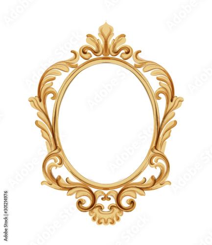 Obraz Louis XVI style mirror with golden neoclassic ornaments. Vector - fototapety do salonu