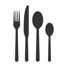 Spoon Fork Knife Vector Icon, ...