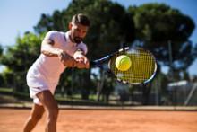 Tennis Player During A Tennis ...