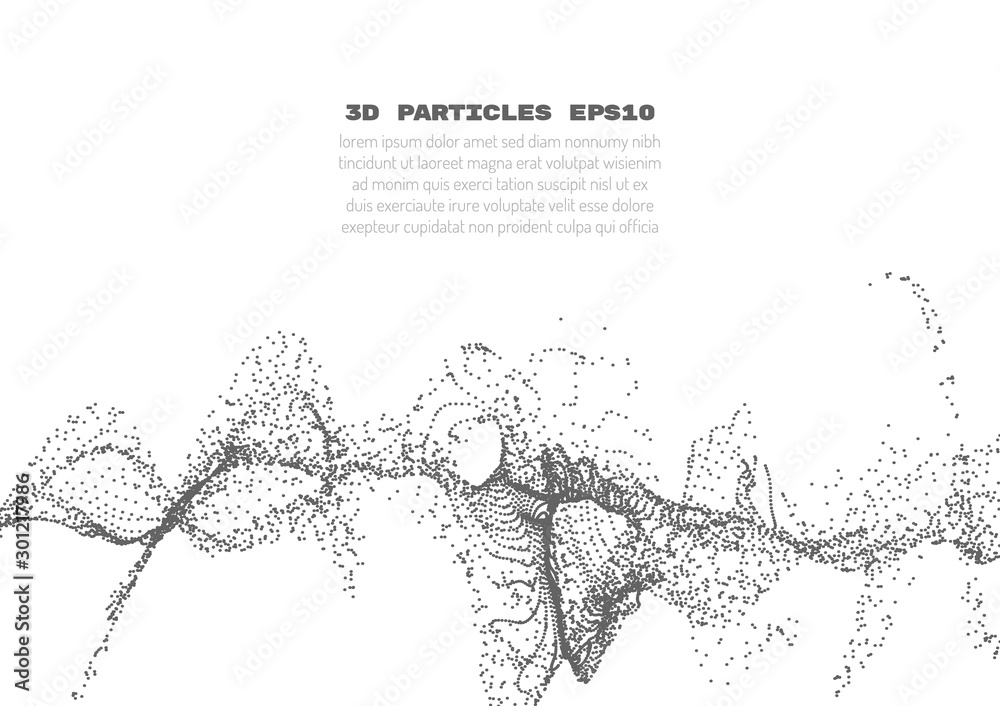 Fototapeta Abstract background with many particles. Optical illusion of movement.