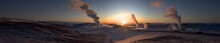Iceland Myvatn Lake Extra Wide Panorama Evening Sunrise Or Sunset With Volcano Geyser