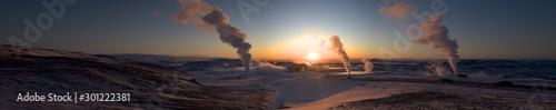 Poster Bleu nuit Iceland Myvatn Lake Extra Wide panorama evening Sunrise or Sunset with volcano geyser