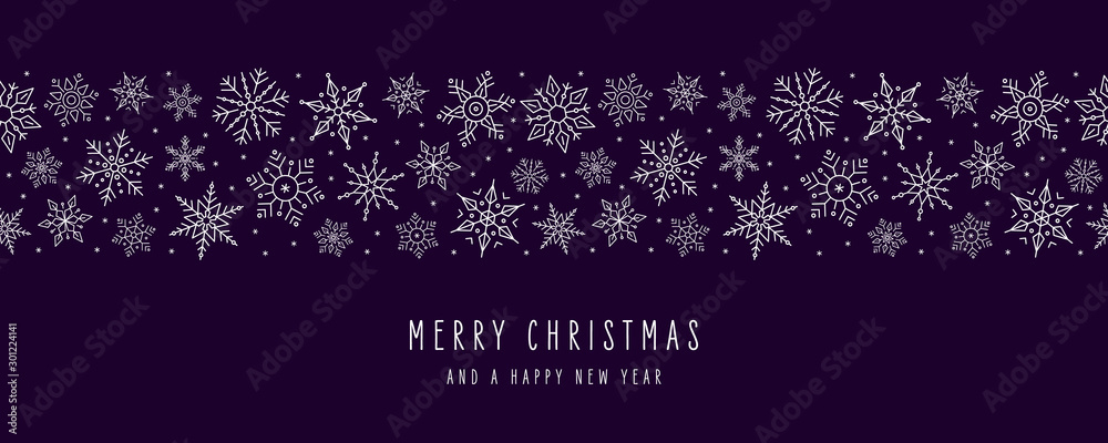 Fototapety, obrazy: Christmas snowflakes elements ornaments seamless banner greeting card on purple background