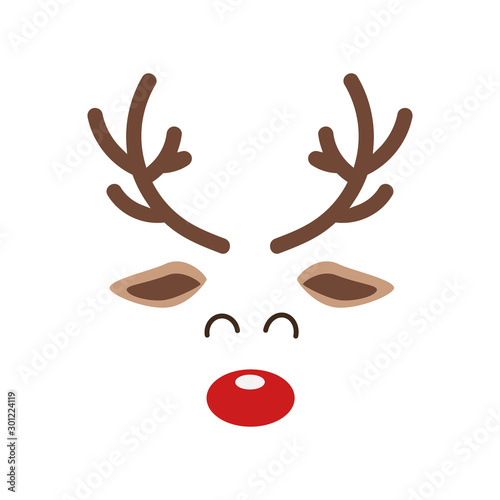 Reindeer red nosed cute close up face isolated white background Canvas-taulu