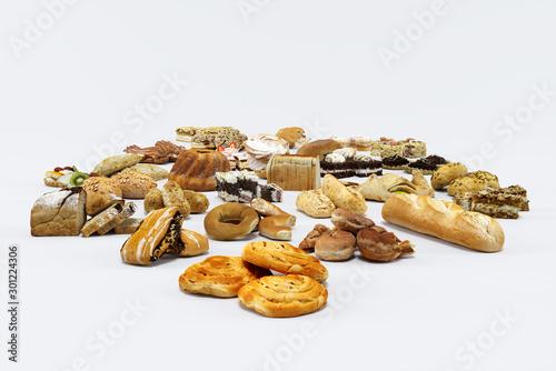 Pastry on white background 3d illustration Tapéta, Fotótapéta
