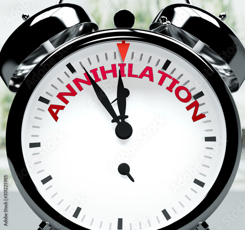 Annihilation soon, almost there, in short time - a clock symbolizes a reminder t Wallpaper Mural