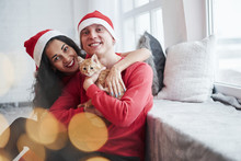 Natural Daylight. Portrait Of Couple With Little Kitty Celebrates Holidays In New Year Clothes