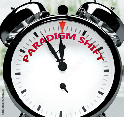 Fotomural Paradigm shift soon, almost there, in short time - a clock symbolizes a reminder