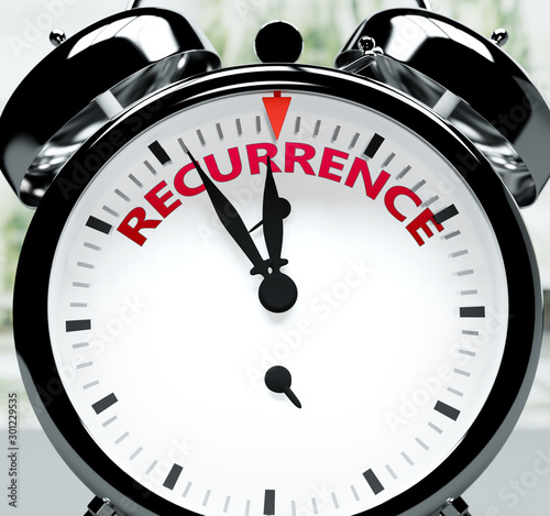 Fotografía  Recurrence soon, almost there, in short time - a clock symbolizes a reminder tha