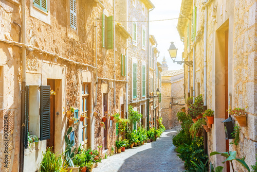 Street of Valldemossa old mediterranean village, landmark of Majorca, Spain isla Wallpaper Mural