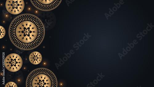Autocollant pour porte Style Boho Golden ethnic mandala background with place for text. Oriental illustration