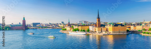 Aerial scenic panoramic view of Stockholm skyline with Old town Gamla Stan, City Wallpaper Mural