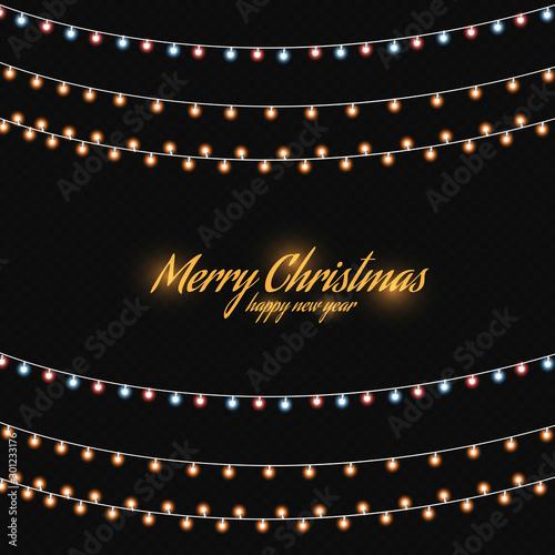 Fotografie, Obraz  Christmas golden lights isolated on dark background