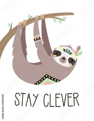 Naklejka na szafę Leniwiec wiszący na drzewie