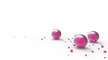 Pink Christmas Balls With Whit...