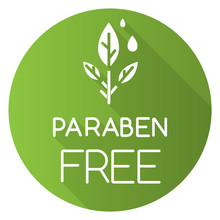 Paraben Free Green Flat Design Long Shadow Glyph Icon. Organic, Non-toxic, Non-chemical Pharmaceutics. Natural Hypoallergen Cosmetics. Product Free Ingredient. Vector Silhouette Illustration