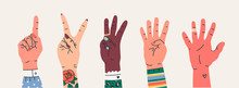 Set Of Hand Gesture Symbols. Various Hand Icons With Finger Count. Counting By Bending Fingers. Hand Drawn Colored Trendy Vector Illustration. Cartoon Style. Flat Design. All Elements Are Isolated