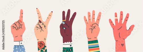 Photo  Set of Hand gesture symbols
