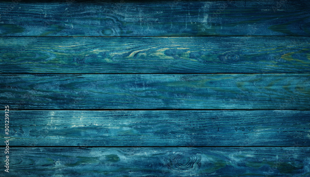 Fototapety, obrazy: Blue wooden background with old painted boards