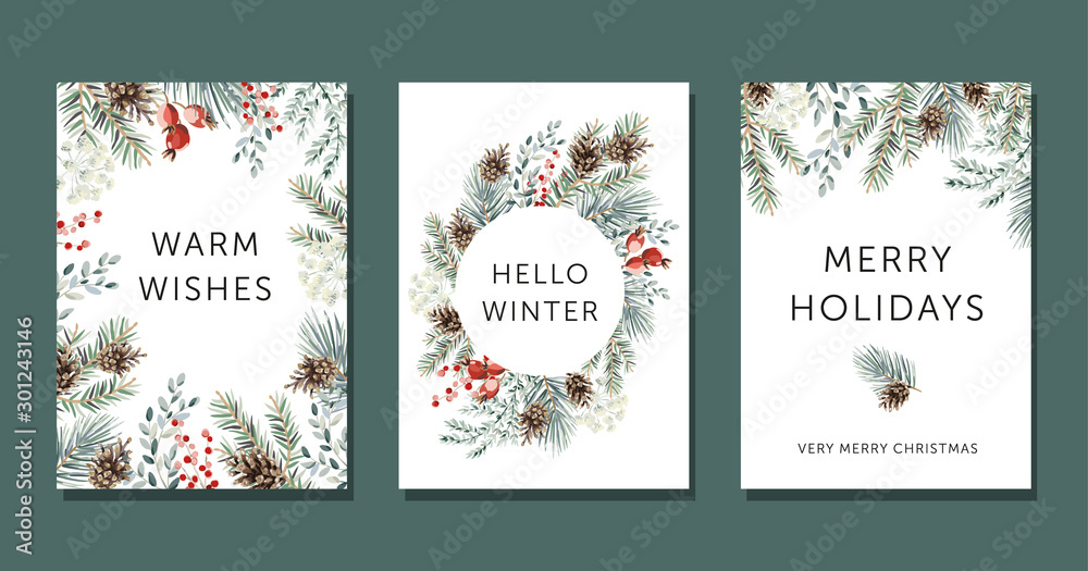 Fototapeta Christmas nature design greeting cards template, circle frame, text Hello Winter, Warm Wishes, Merry Holidays, white background. Green pine, fir twigs, cones, red berries. Vector xmas illustration
