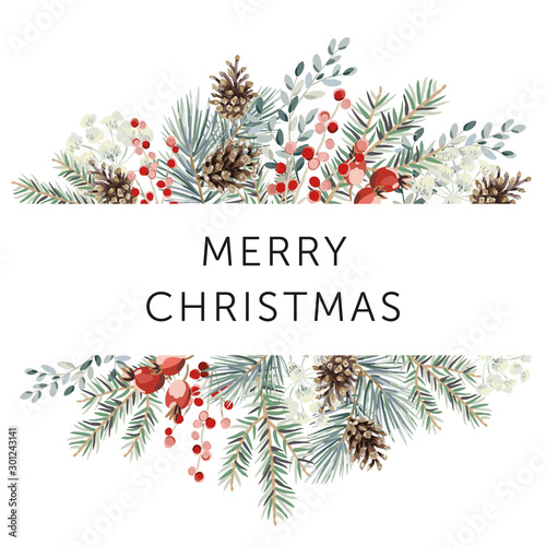 Fotomural  Winter nature design frame, text Merry Christmas, white background