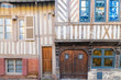 canvas print picture Honfleur, Normandy, typical street with half-timbered houses