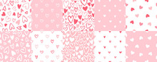 Cute Doodle Style Hearts Seamless Vector Patterns Set. Valentine's Day Handwritten Background Collection. Marker, Brush Drawn Different Outline Heart Shapes, Silhouettes. Hand Drawn Ornamentation.