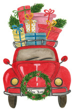 Watercolor Red Retro Car With ...