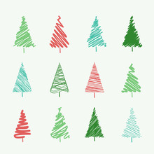 Set Of Scribble Christmas Tree...