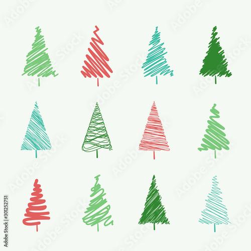 Fototapeta Set of scribble Christmas tree vectors, isolated on an off-white background obraz