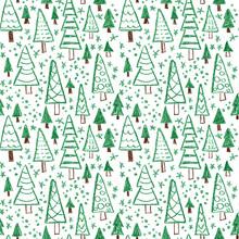 Many Fir Trees. Naive Childish...