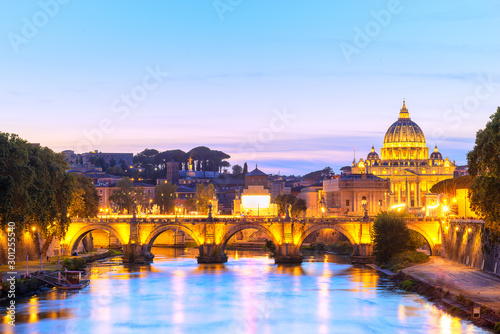 Photo sur Toile Rome St. Peter's basilica in Vatican at dusk. Italy