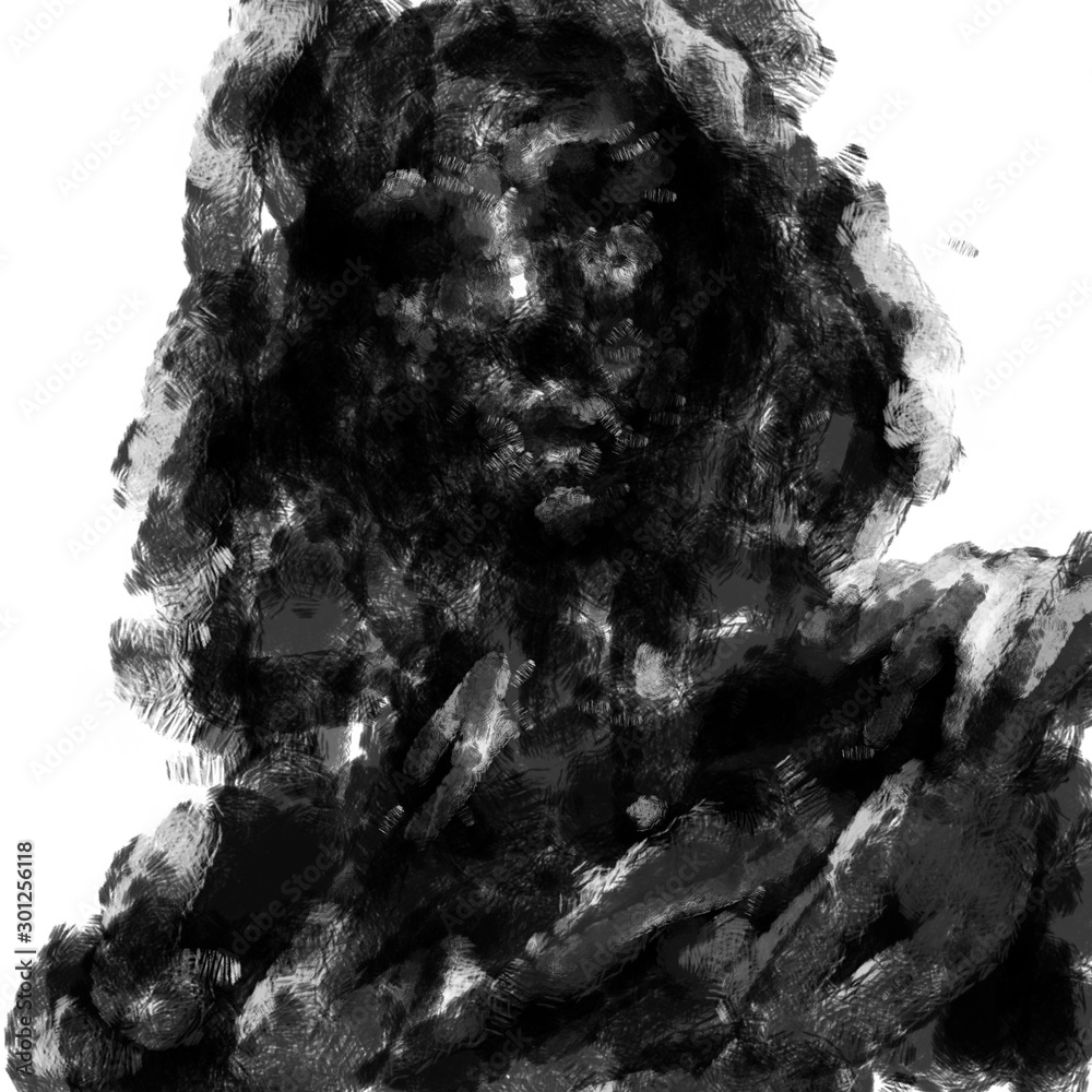 Fototapeta Frightening dead man in the hood. Black and white illustration in horror genre with coal and noise effect.