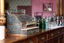 Old Retro Cash Register Vintage In Bar