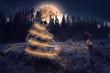 canvas print picture - Winter Landschaft mit Vollmond, Weihnachtsbaum und Hirsch