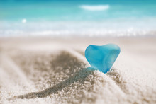 Sea Glass Blue Heart On White Sand Beach