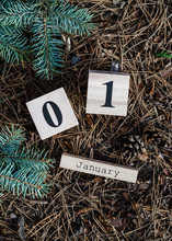 1 January. Date On Wooden Cube...