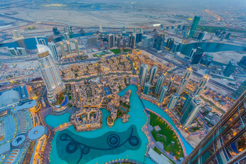 Aerial view of Downtown Dubai at the sunset