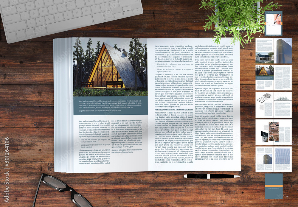 Fototapety, obrazy: Magazine Layout with Blue and Orange Accents