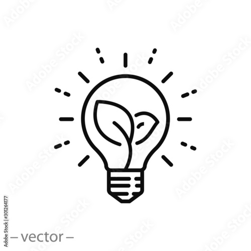Obraz sustainable ecological energy icon, creative lamp, light bulb nature, plant in the bulb, thin line web symbol on white background - editable stroke vector illustration eps 10 - fototapety do salonu