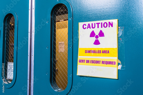 Ionizing radiation warning symbol displayed at the entrance to a laboratory; Mes Canvas Print