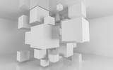 abstact white modern architecture background with white cubes 3d illustration render