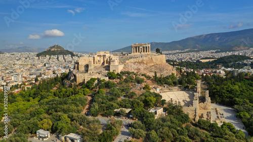 Aerial drone photo of iconic Acropolis hill, Propylaia main gate and the Parthenon, Athens historic centre, Attica, Greece