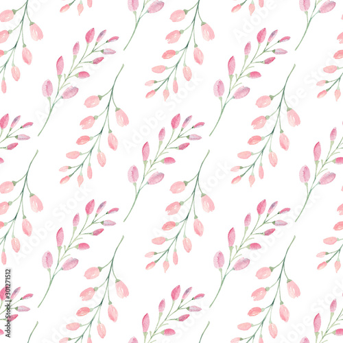 Fototapeten Künstlich Branches with flower buds watercolor raster seamless pattern