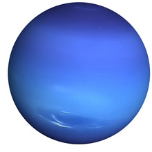 High Detailed Neptune Planet Of Solar System With White Atmosphere Isolated. Fiction Blue Planet. Elements Of This Image Furnished By NASA.