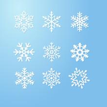 Nine Snowflakes Set Icon Winte...