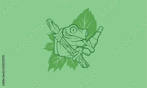 Fototapeta Drunken frog with a beer