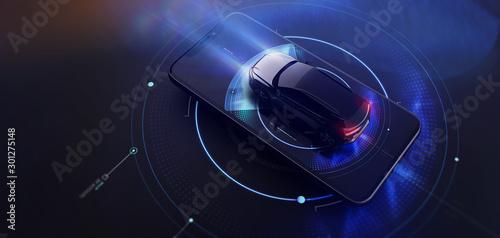 Smartphone application UI for modern cars (general info displayed) (3D Illustration)
